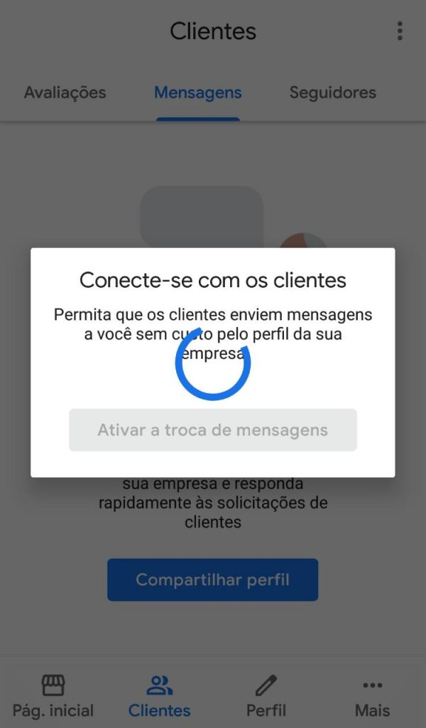 Ativação Mensagens Google my business