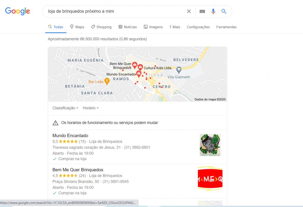 Busca por loja de brinquedosno Google meu Negócio