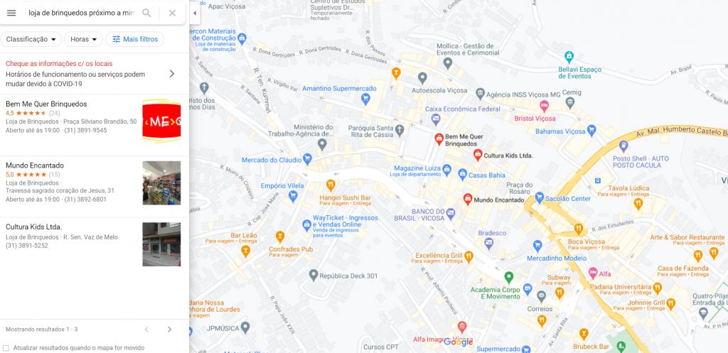 Busca por loja de brinquedos no GMN no Mapa